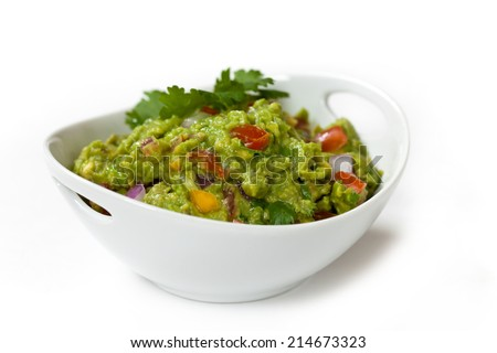 Homemade Guacamole dip on white background. Selective focus. - stock photo