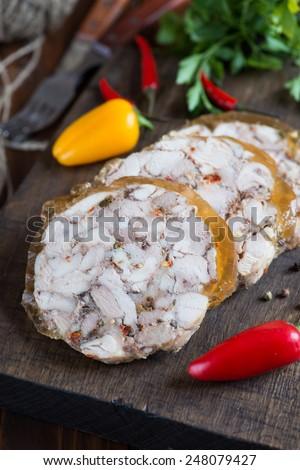 Homemade ham in jelly - stock photo