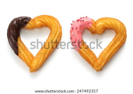 homemade heart shape churro, valentines day dessert - stock photo