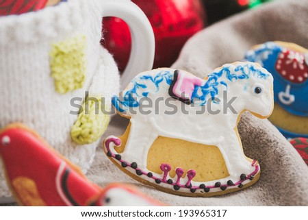 Homemade holiday cookies - gingerbread - stock photo