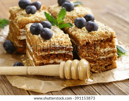 homemade honey cake with blueberries and mint - stock photo