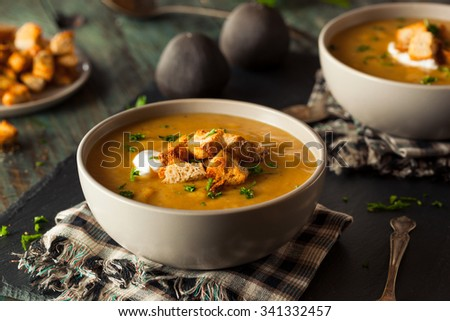 Homemade Hot Butternut Squash Soup with Toppings - stock photo