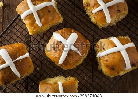 Homemade Hot Cross Buns Ready for Easter - stock photo