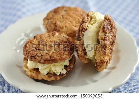 homemade ice cream sandwich - stock photo