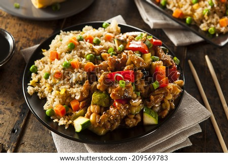 Homemade Kung Pao Chicken with Peppers and Veggies - stock photo