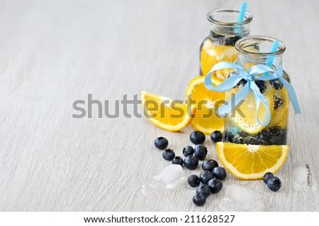 Homemade lemonade in glasses copy space background - stock photo