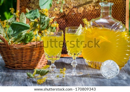 Homemade liqueur made �¢??�¢??of honey and lime - stock photo