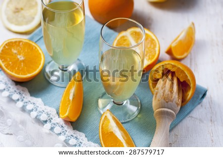 Homemade liqueur oranges. Selective focus - stock photo