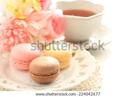 homemade macaron on elegant dish - stock photo