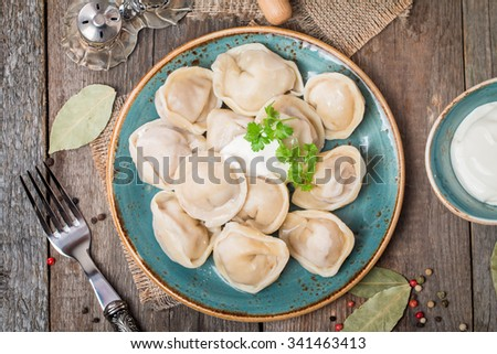 Homemade Meat Dumplings - russian pelmeni with fresh parsley on plate, top view - stock photo