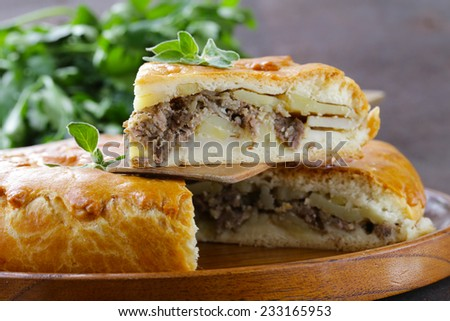 homemade meat pie with potatoes and oregano - stock photo