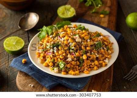 Homemade Mexican Corn Salad with Cilantro Lime and Cheese - stock photo