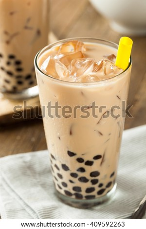 Homemade Milk Bubble Tea with Tapioca Pearls - stock photo