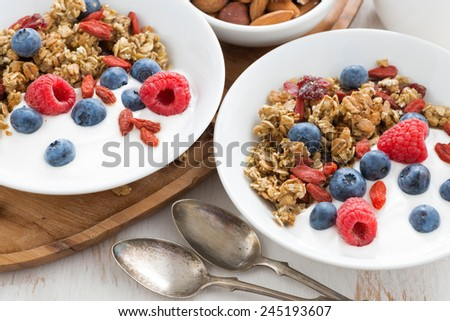 homemade muesli with fresh berries, nuts and yogurt for breakfast, close-up, top view - stock photo