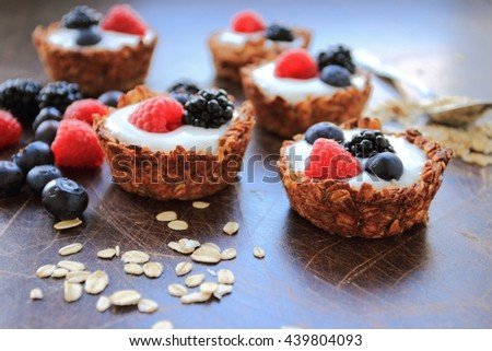 Homemade oat cookies with fresh fruits - stock photo