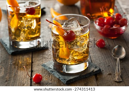 Homemade Old Fashioned Cocktail - stock photo