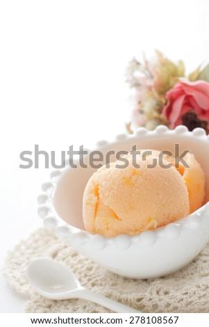 Homemade orange gelato ice cream - stock photo