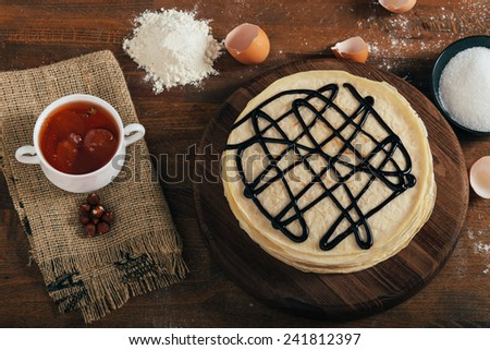 Homemade pancakes on a plate. - stock photo