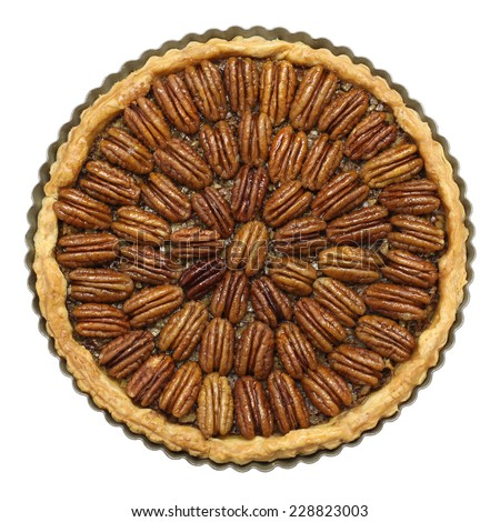 homemade pecan pie isolated on white background - stock photo