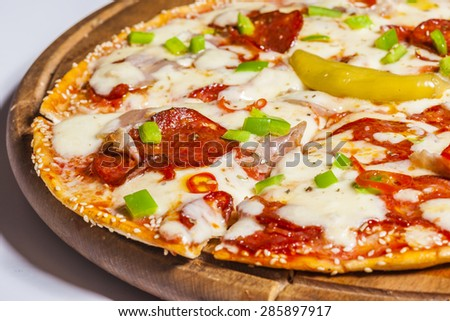 Homemade pepperoni pizza - stock photo