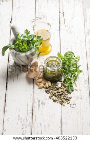 homemade pesto sauce - stock photo