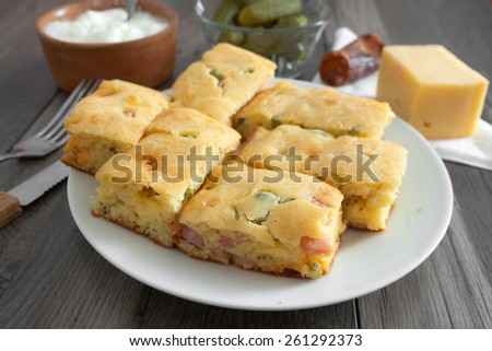 Homemade Pie with Cheese and Sausage - stock photo
