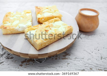 Homemade Pie With Cheese and Sour Cream - stock photo