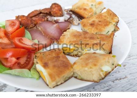 Homemade Pie with Eggs - stock photo