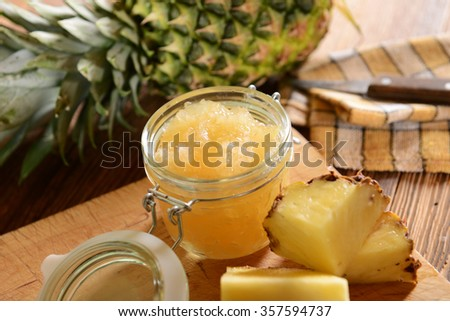 Homemade pineapple jam - stock photo