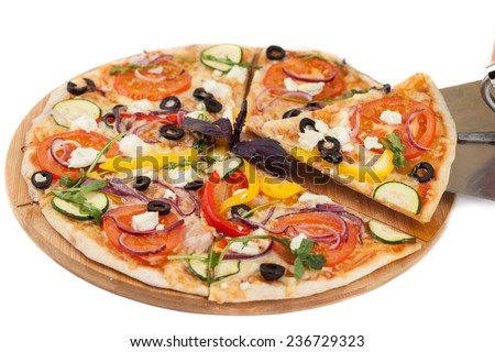 Homemade pizza isolated on white background - stock photo