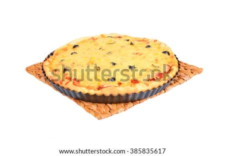 Homemade pizza on baking sheet, isolated on white background - stock photo