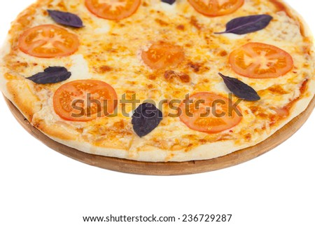 Homemade pizza on white background - stock photo