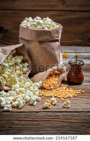Homemade popcorn with salt - stock photo