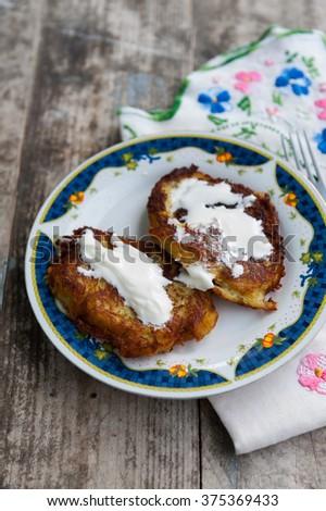 Homemade potato pancakes - stock photo