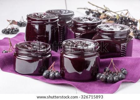 Homemade preserves. Chokeberry jam.  - stock photo