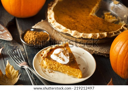 Homemade Pumpkin Pie for Thanksgiving Ready to Eat - stock photo
