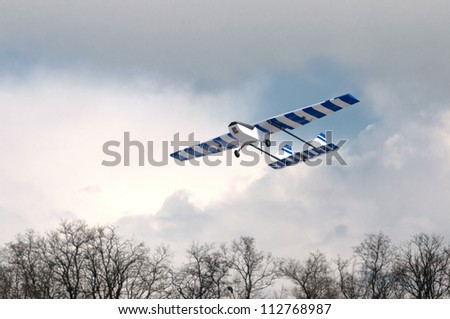 Homemade radio control aircraft with electric motor - stock photo