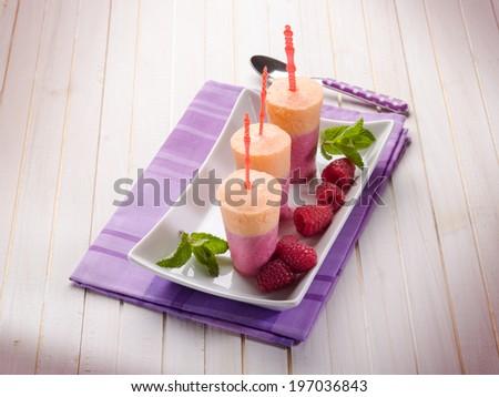 homemade raspberry popsicle - stock photo