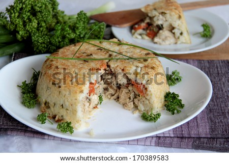 Homemade rice with chicken and vegetables - stock photo