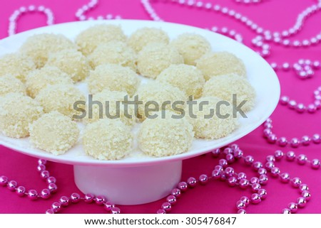 Homemade round candy of corn sticks with condensed milk - stock photo