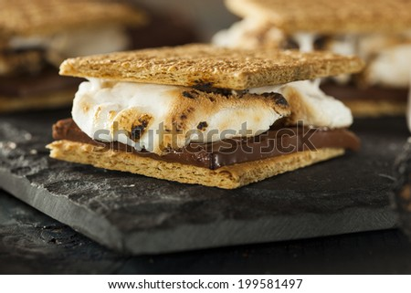 Homemade S'mores with Marshmallows Chocolate and Graham Crackers - stock photo