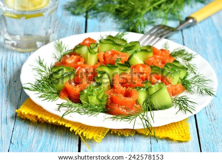 Homemade salted salmon with cucumber and dill on a white plate. - stock photo