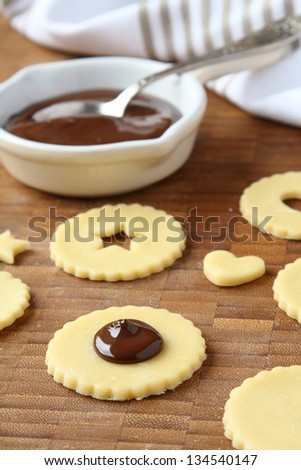 Homemade shortbread cookies pops with chocolate, process of baking, step 2 - stock photo
