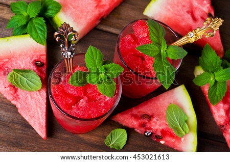 Homemade sorbet of watermelon on a dark wooden background. Selective focus. - stock photo