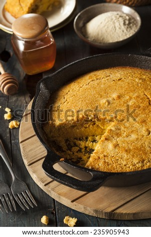 Homemade Southern Style Cornbread in a Skillet - stock photo