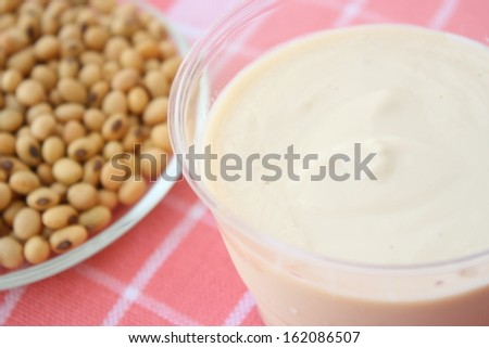 homemade soy milk yoghurt with soyabean - stock photo