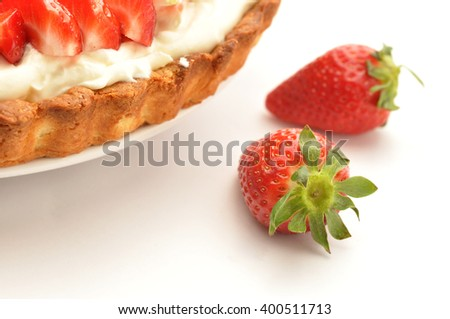 Homemade Strawberry tart with cream cheese on white background - stock photo