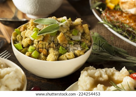 Homemade Stuffing for Thanksgiving with Celery and Sage - stock photo
