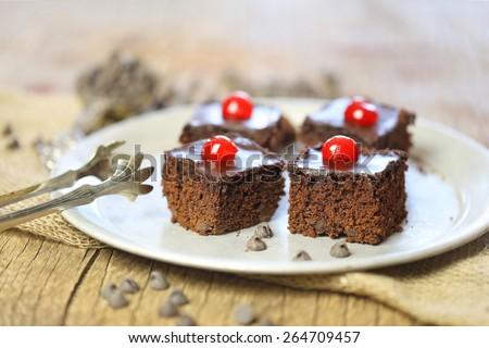 Homemade sweet brownies or chocolate cakes - stock photo