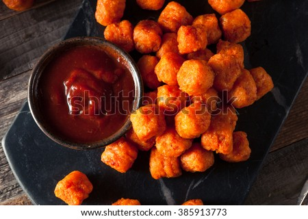 Homemade Sweet Potato Tater Tots with Ketchup - stock photo